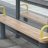 Freestanding bench Standard with 2 handles, Lidköping´s Travel Centre